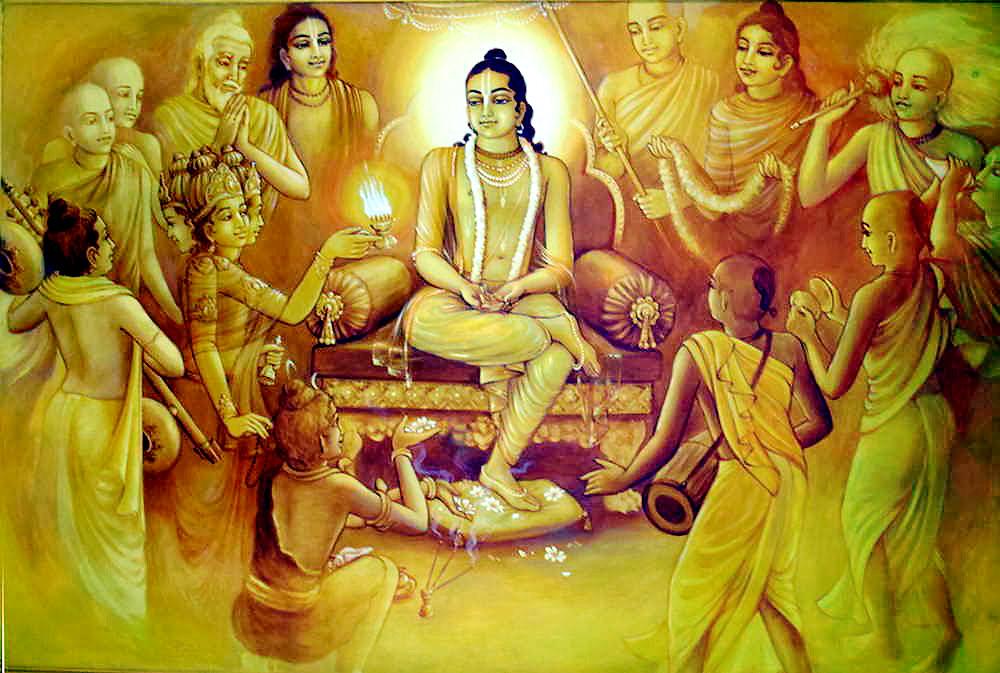 All glories, all glories to the beautiful arati ceremony of Lord Gauracandra Śrī Caitanya Mahāprabhu