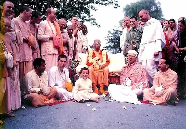 Srila Prabhupada with Rupanuga and devotees